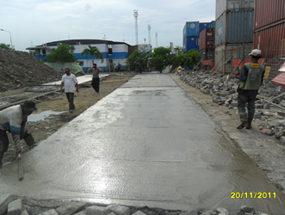 Proyek Cor Beton di Koja Tanjung Priok